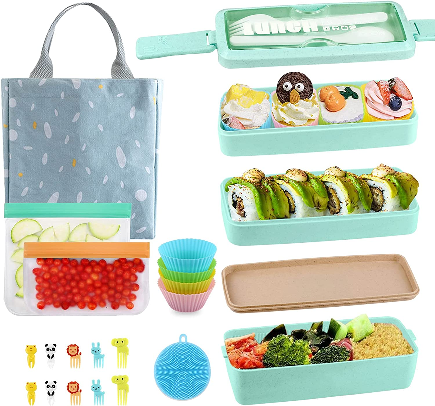 Bento Max 83% OFF Box Japanese Lunch Kit 19 3 Virginia Beach Mall PCS Layer Leak Stackable