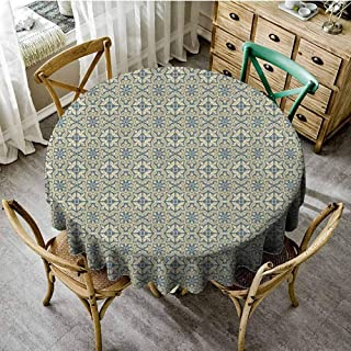 Geometric Table Cover Flora Pattern Victorian Inspired Baroque Style Design Abstract Leaves Retro Overlay Round Tablecloth Bluegrey Yellow Diameter 54