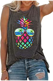 Vintage Colorful Pineapple Sunglasses Beach Tank Tops for Women Funny Graphic Vest Casual Summer Sleeveless Tee Shirts