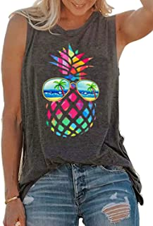 SUNFLYLIG Vintage Colorful Pineapple Sunglasses Beach Tank Tops for Women Funny Graphic Vest Casual Summer Sleeveless Tee Shirts