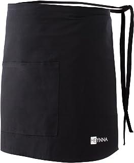 HEYNNA® Premium Vorbinder Küchenschürze 100% Baumwolle belastbar & einfach zu reinigen - perfekt auch als Gastronomie Schürze und Kellnerschürze (schwarz)