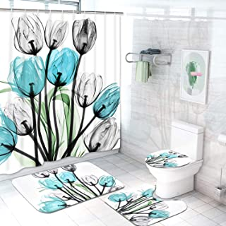 Claswcalor 4 Pcs Tulip Flowers Shower Curtain Sets with Non-Slip Rugs, Toilet Lid Cover and Bath Mat, Colorful Tulip Flowers Curtain with 12 Hooks, Durable Waterproof Shower Curtain