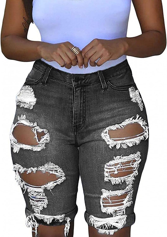 LEIYAN Womens Ripped Jean Shorts Casual High Waist Slim Fit Biker Shorts Summer Bermuda Hip Lifting Beach Hippie Shorts