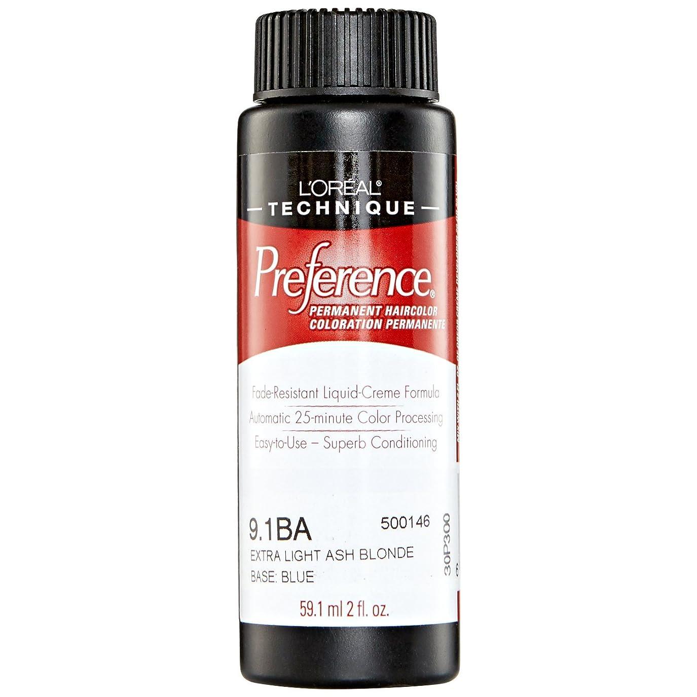 続編判読できないよりL'Oreal Technique Preference - 9.1BA Extra Light Ash Blonde - 59.1ml / 2oz