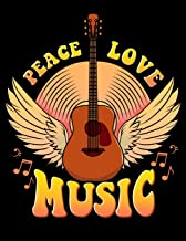 Peace Love Music: Peace Love Music Blank Sketchbook to Draw and Paint (110 Empty Pages, 8.5