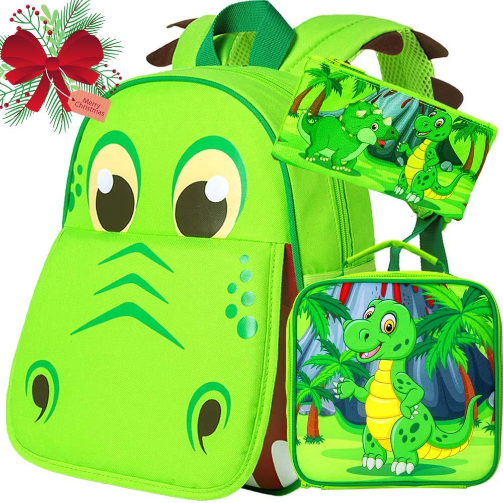 3PCS Toddler Backpack for Boys, 12'' Dinosaur Bookbag and Lunch Box