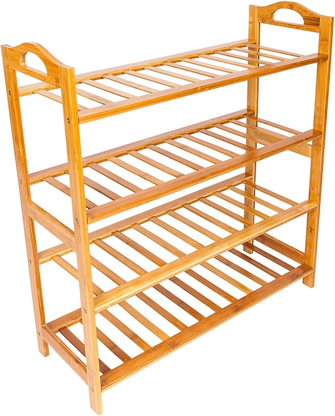 Riyyow Bamboo 5% Brand Cheap Sale Venue OFF Shoe Rack Concise 12-Batten 4 Tiers Shelf F