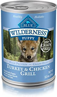 Blue Buffalo Wilderness High Protein Grain Free, Natural Puppy Wet Dog Food, Turkey & Chicken Grill 12.5-Oz Can (Pack Of 12) (Limited Edition)