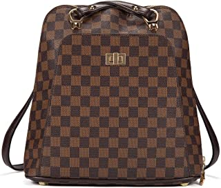 Checkered Fashion Leather Backpack Travel bag for Women Teen (Checkered Backpack Brown 190620)