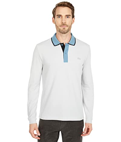 Lacoste Long Sleeve Regular Fit Semi Fancy Tailored Polo (Cumulus/Limestone/Black) Men