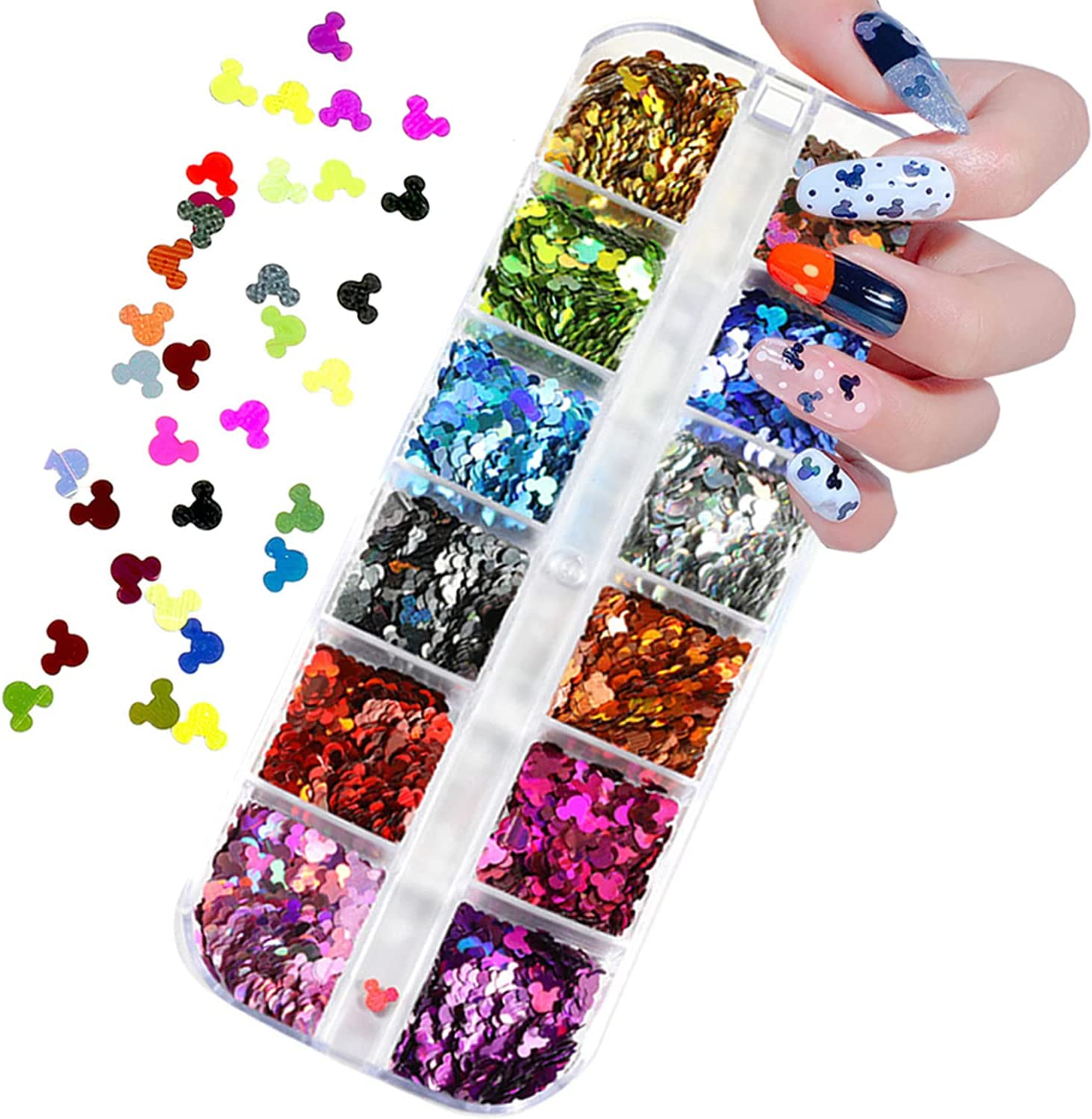 Buy 12 Colors Mickey Mouse Nail Glitter Sequins Nail Art Supplies 3D  Holographic Nails Glitter Flakes Mickey Nail Art Stickers Decals Shiny  Confetti Glitters Nail Designs for Acrylic Nails Decor Online in