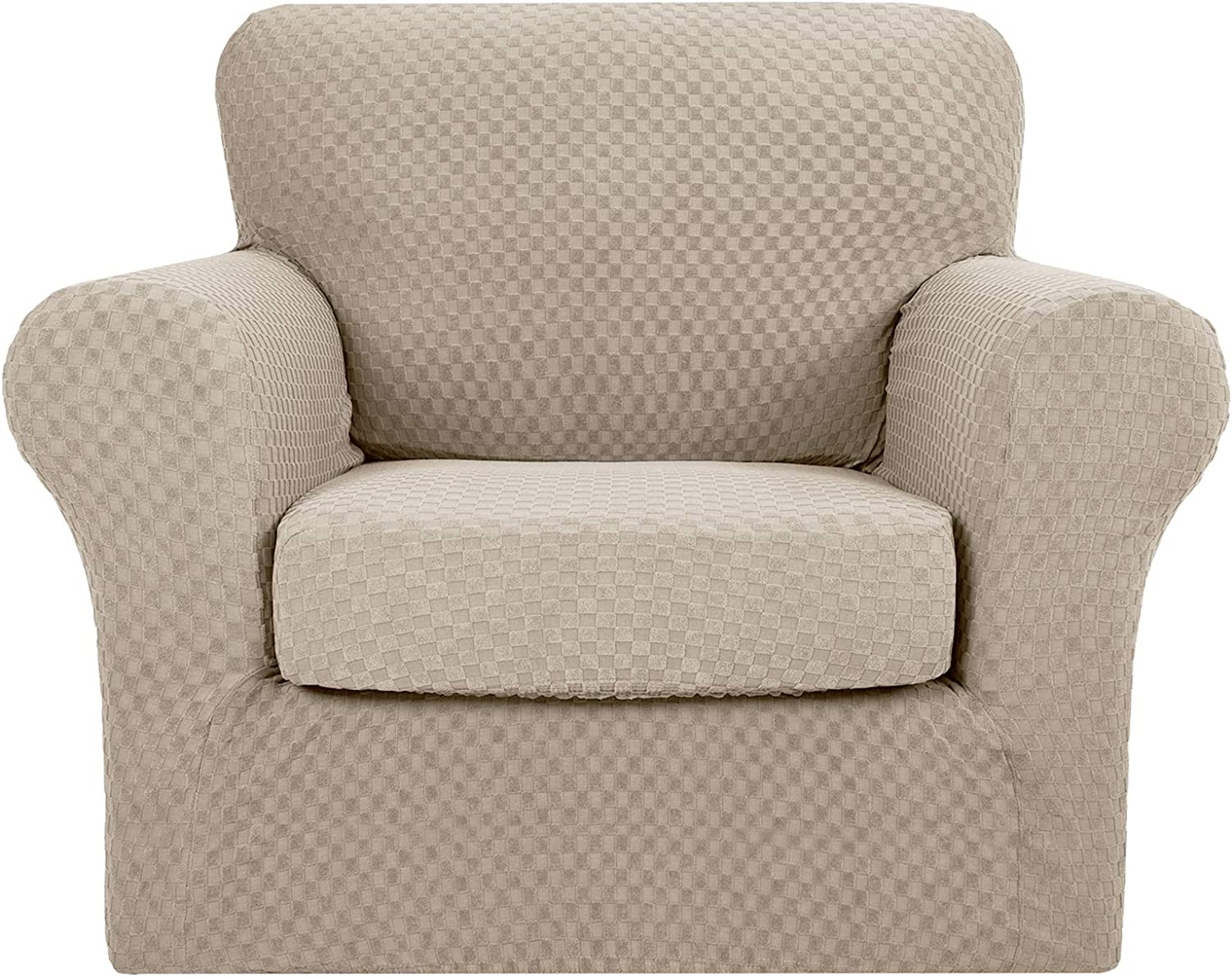 MAXIJIN 3 Piece Newest Jacquard Couch Covers for 2 Cushion Couch Stretch Non Slip Love Seat Couch Cover for Dogs Pet Friendly Elastic Furniture Protector Loveseat Slipcovers Loveseat, Light Beige