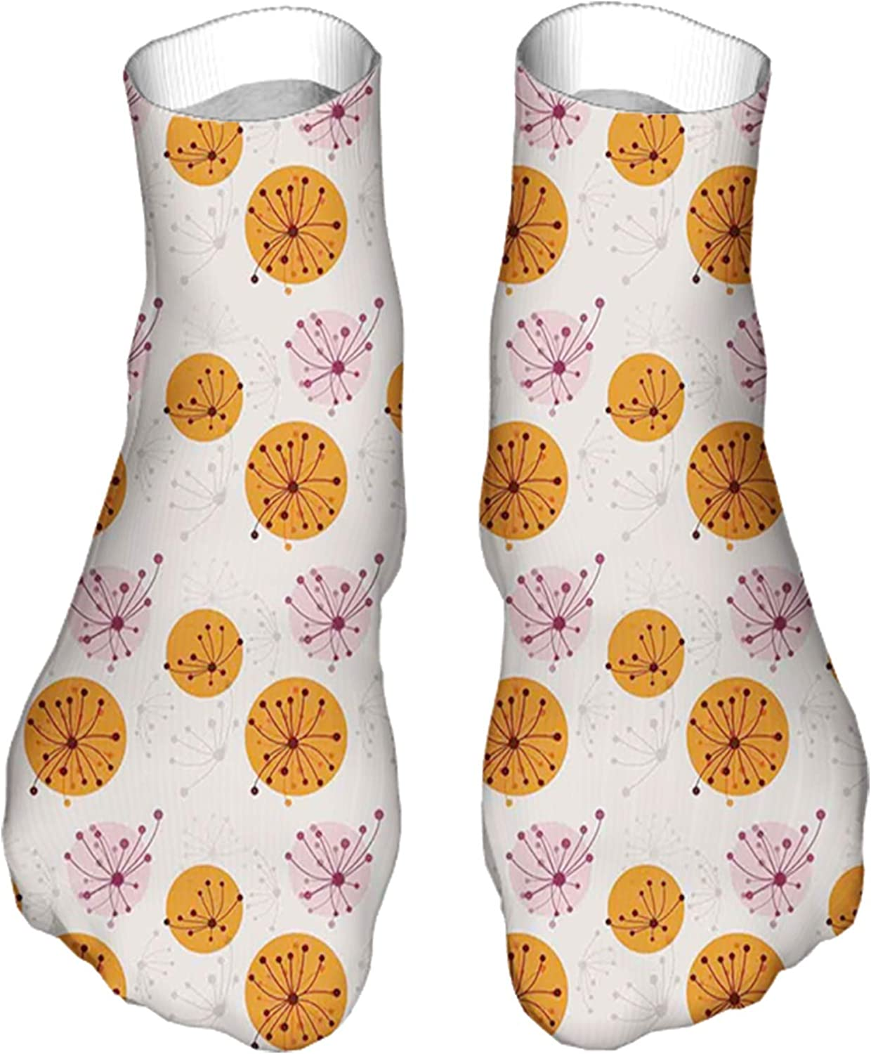 Women's Colorful Patterned Unisex Low Cut/No Show Socks,Graphic Floral Motif on Pink and Orange Spots Nature