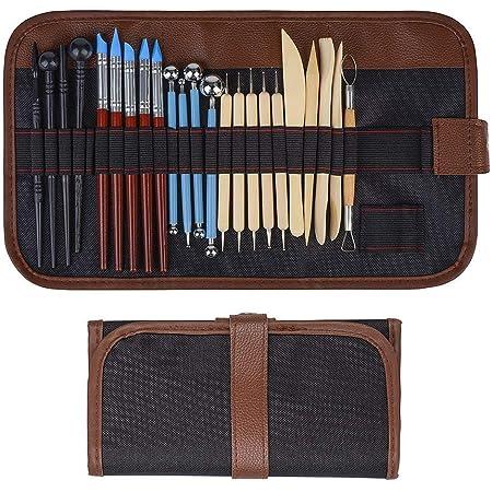 Outil en céramique 24 pièces ensemble d'outils de modélisation d'outils d'argile, outil de potier pour l'argile en céramique, bougies de cire