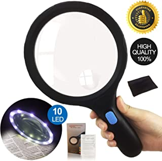 LED Magnifying Glass with 10 Lights Handheld, Magnifying Glass Evenly Lit Viewing Area, Lightweight Easy Reading Ultra Bright Magnifier for Small Prints, Low Vision Seniors, Macular (Large-1.8x/5x)