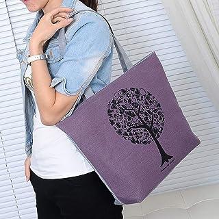Wultia - 2019 Fashion Folding Women Big Size Handbag Tote Ladies Casual Flower Printing Canvas Graffiti Shoulder Bag Beach Bolsa Feminina Purple