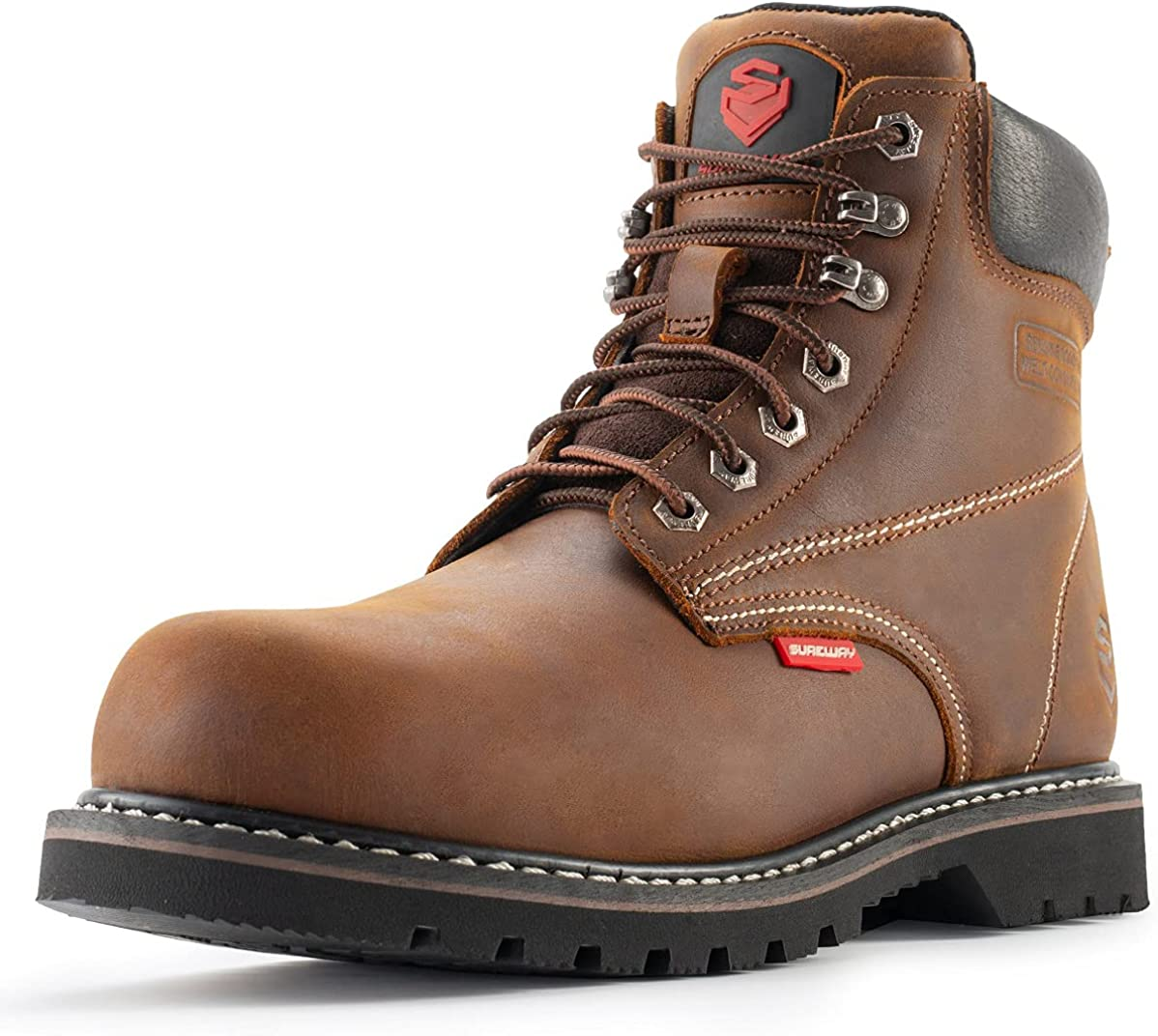 SUREWAY Steel Toe Boots Surprise price for Men Leather Inventory cleanup selling sale Full Non-Slip M 6