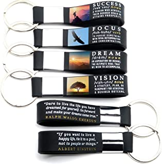 (12-pack) Motivational Quote Keychains - Success, Dream, Focus, Vision - Wholesale Bulk Pack of 1 Dozen Key Chains - Corporate Office Business Quote Gifts Idea for Students Coworkers Employees Clients