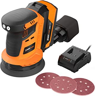 Enertwist Cordless Lithium-ion Brushless Orbital Sander, 20V Max 5-Inch Random Orbit Sander Kit with 4.0Ah Battery, Charger, Dust Bag, and 9-Pieces Hook-and-Loop Sanding Pads, ET-OS-20BL