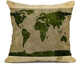 Kinhevao Cojín Marrón Asia Mapa del Mundo Efectos Antiguos Topografía Brújula Norte Cojín de Lino Antiguo Almohada Decorativa para el hogar