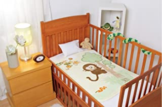 Baby Mink Luxurious Baby Crib Blanket with an Adorable Climbing Monkey Design
