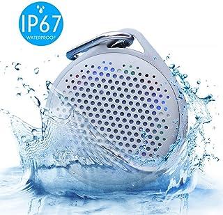 Shower Speaker - AVWOO IP67 Waterproof Bluetooth Speaker, Portable Bluetooth Speaker with Enhanced Bass and Built-in Mic, Mini Bluetooth Speaker with Compact Size for Home Outdoor Travel (Gray)