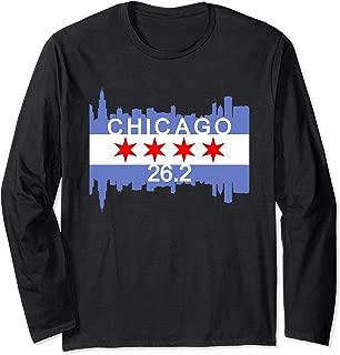 26.2 Mile Marathon Runner Chicago Flag Running Race Gift Long Sleeve T-Shirt