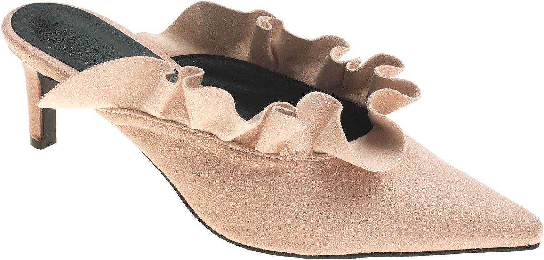 AnnaKastle Womens Pointy Toe Ruffle Mule Dress shoes Heels