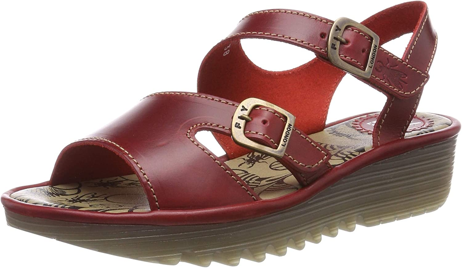 Fly London Womens Enat Bridle Summer Leather Cut Out Open Toe Sandals