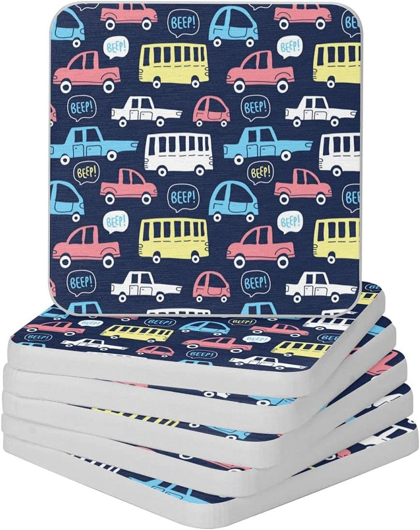 Time sale Cute Cars On Dark Max 40% OFF Background Diatomite 4in Cup Coast Coaster-for