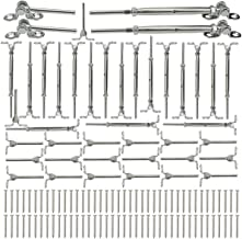 Muzata 6PACK 1//8 Cable Railing Kit and 10 Pack CR18 Stainless Steel Eye Shape Screws Metal Hook and