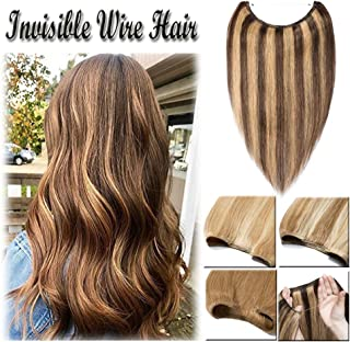 16-22inch Hidden Wire Hair Extensions Highlighted Human Hair Crown in Hairpiece Secret Translucent Fish Line No Clip Miracle Headband - 20