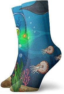 LanDu, Los calcetines unisex para niños en submarino bajo el océano de 11.8 pulgadas son los mejores para atletismo, correr, volar y viajar.