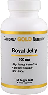 California Gold Nutrition Royal Jelly 500 mg 120 Veggie Caps, Milk-Free, Egg-Free, Fish Free, Gluten-Free, Peanut Free, Tr...