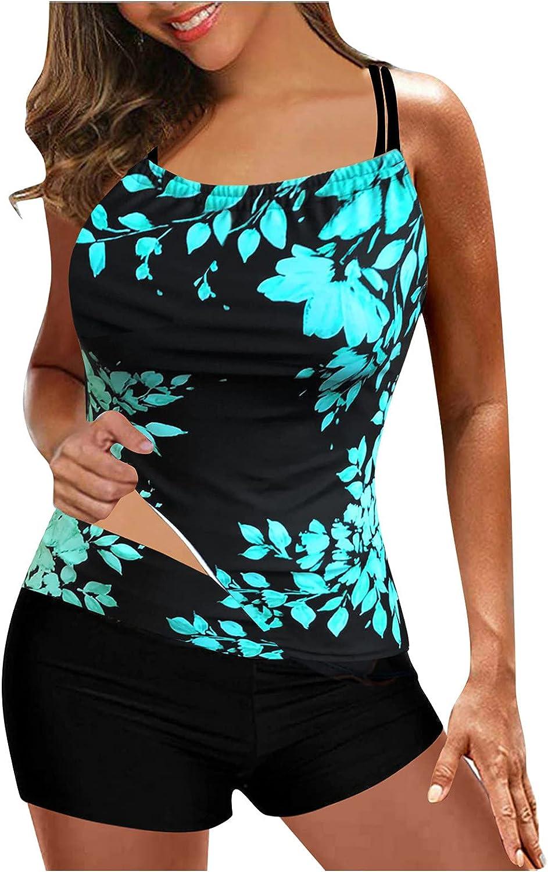 Jan STORE Two Piece Swimsuit for Women Tankini High Waisted Tummy Control Print Swimwear Boyshort Swimsuits Bathing Suits