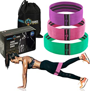 Fabric Hip Bands 3 Pack Set. Wide, Non-Slip, Stretch, Resistance Bands for Legs and Butt. Perfect Glute, Core, Booty Bands. Workout Exercises and Carry Bag Included