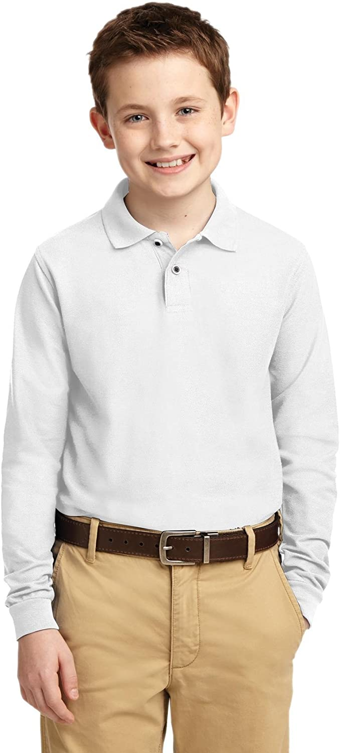 Port Authority Youth Long Sleeve Silk Touch Polo. Y500LS White XL