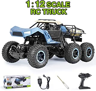 6WD Remote Control Truck Rock Crawler - Offroad RC Truck 1:12 High Speed Car Electric Vehicle with Rechargeable Battery for Boys and Girls,Blue