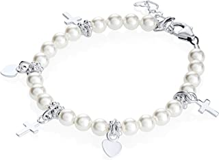 Sterling Silver Charm Bracelet for Girls - with Swarovski Simulated Pearls and Silver Cross and Heart Charms - Best First Communion Gift for Girls