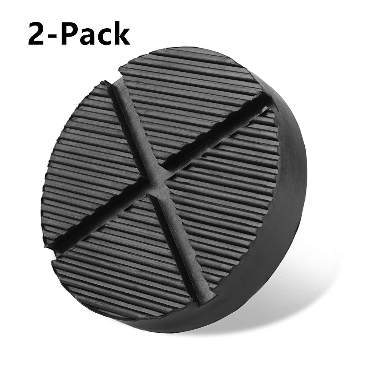 EEEKit Cross Slotted Frame Rail Floor Jack Disk Rubber Pad for Car for Pinch Weld Side Universal Jack, Black, 2-Pack
