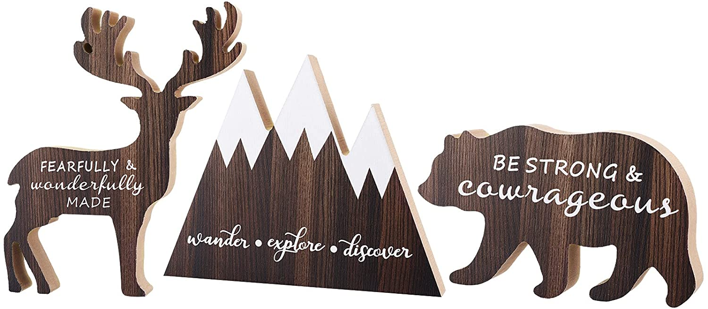 3 Sets Wooden Mountain Decor Woodland Inspirational Quote Wooden Sign Wander Explore Discover Neutral Nursery Table Decor Centerpiece Wooden Mountain Deer Bear Decor for Baby Girl Boy Room Decor