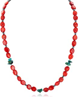 $230Tag Certified Silver Navajo Natural Turquoise Coral Native Necklace 14905-1 Made by Loma Siiva