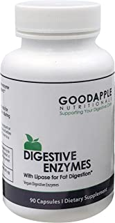 GoodApple Nutritionals Digestive Enzymes with Lipase - Gas & Bloating Support - Vegetarian, Gluten Free, Dairy Free| 90 ca...