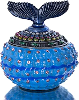 YU FENG Decorative Blue Fishtail Jeweled Trinket Box Small Jewelry Boxes Collectible Figurine for Rings or Earrings