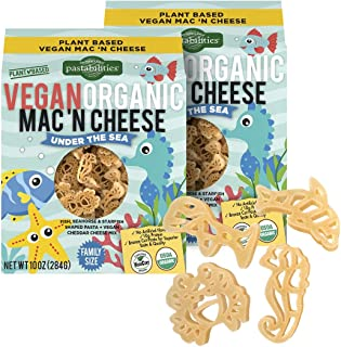 Pastabilities Vegan Organic Kids Under the Sea Fun Pasta Shapes Mac and Cheese, Non-GMO Wheat Pasta (10 oz, 2 Pack)