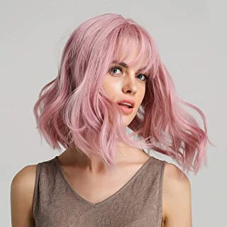 Pastel Pink Wavy Bob Wigs With Air Bangs Women's Short Curly Wavy Wig for Women Shoulder Length Synthetic Wig Costume Wigs...