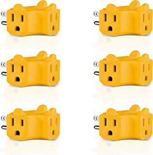 Maxlin Cable 3-Outlet Wall Adapter (T-shaped), Plug Extender; Heavy Duty Grounded Power Tap [ETL Listed] Yellow - 6 Pack