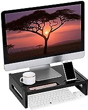 SONGMICS Bamboo Wood Monitor Computer Riser with Storage Organizer Office Desk Laptop Cellphone TV Printer Desktop Container Black ULLD211BK
