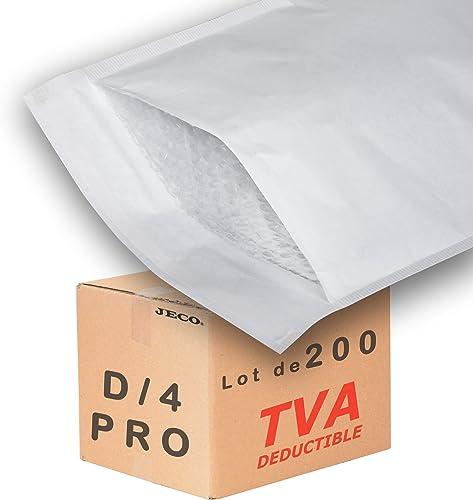 JECO - 200 Enveloppes à bulles d'air pochettes matelassées d'expédition PRO taille D/4 int. 180 x 270 mm