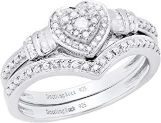 0.30 Carat (ctw) Round & Baguette Diamond Heart Shaped Engagement Ring Set 1/3 CT, Sterling Silver